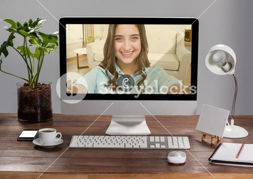 Incoming video call of women on desktop pc