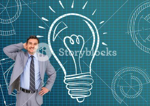Confused businessman standing against electric bulb in background