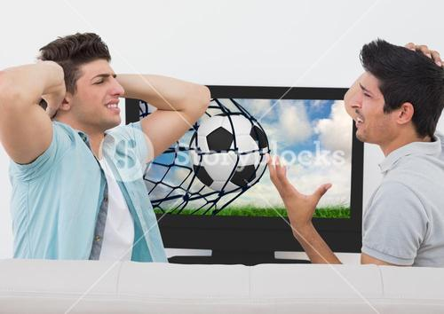 Friends disappointed while watching football match on television
