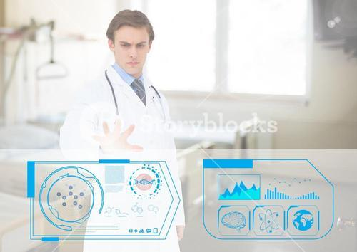 Doctor pretending to touch an invisible screen
