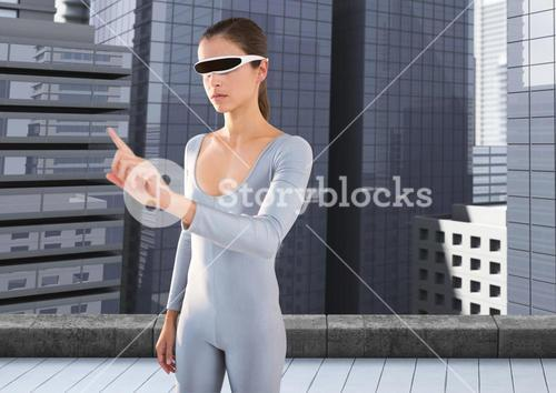 Woman using virtual reality glasses against office window in background