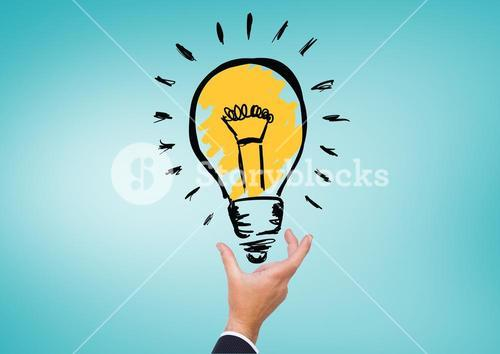 Businessman hand holding electric bulb against turquoise background