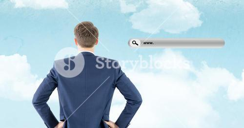 Rear view of businessman standing with website search bar