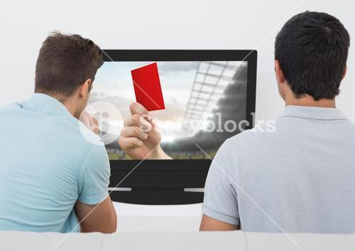 Rear view of men watching television in living room
