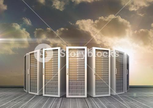 Server rooms arranged in a row against bright sunlight