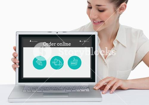 Smiling woman showing online application on laptop screen
