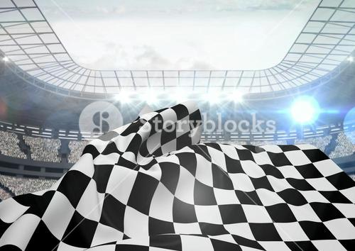 Checkered flag waving in stadium