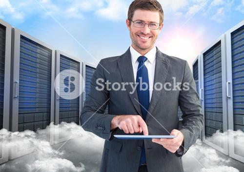 Portrait of smiling businessman using digital tablet against server and clouds background