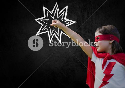 Girl in red cape and mask standing with fist against black background
