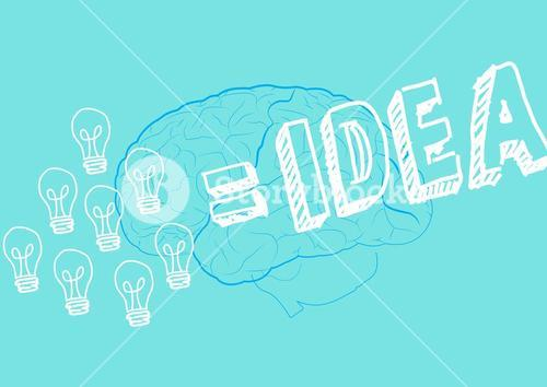 Innovative bulb and brain drawn on green background with text idea