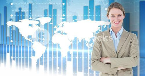 Portrait of smiling businesswoman standing with arms crossed against map background