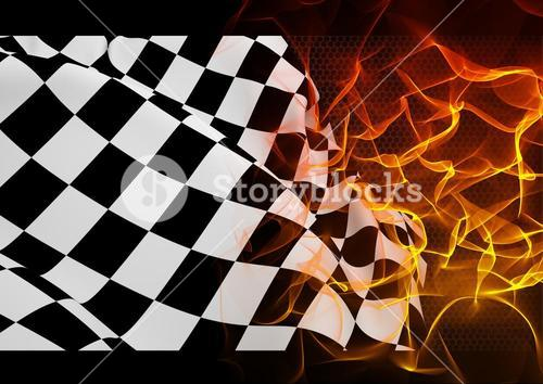 Checker flag and fire