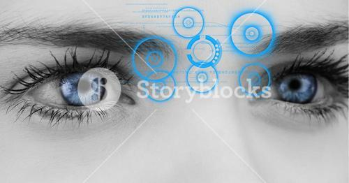 Womans eye with interface screen