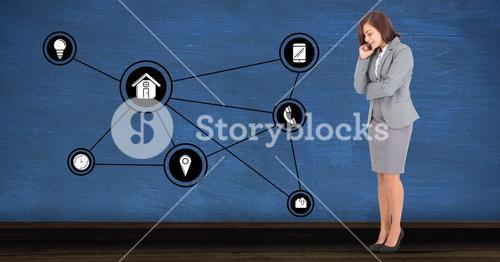 Businesswoman looking at connecting communication icons