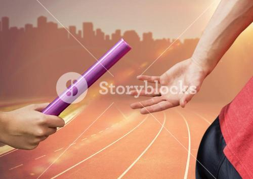 Digital composite image of hands passing the baton