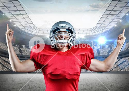 Digitally generated image of american football player cheering with clenched fist