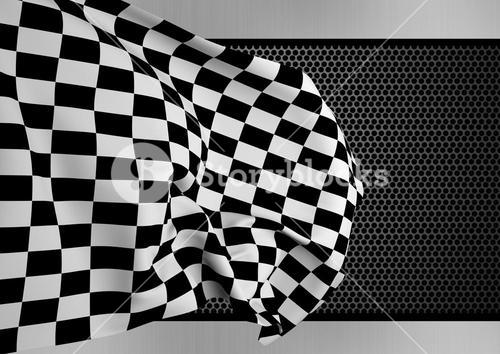 Checker flag against digitally generated background
