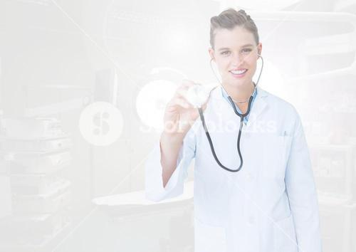 Female doctor using stethoscope on interface screen