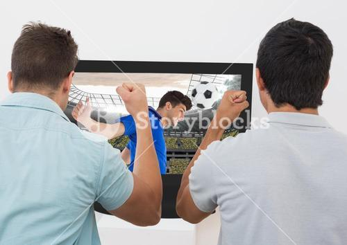 Two excited men cheering while watching football match on tv