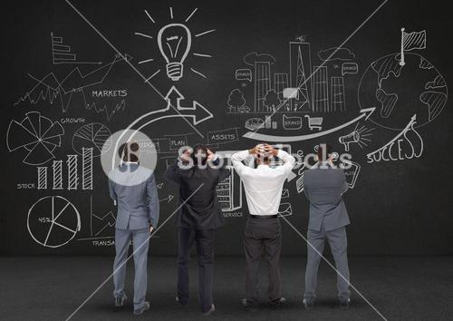Digitally generated image of bussiness professionals looking at blackboard