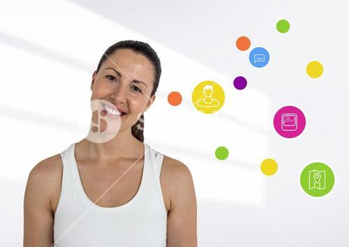 Digital composite image of smiling woman