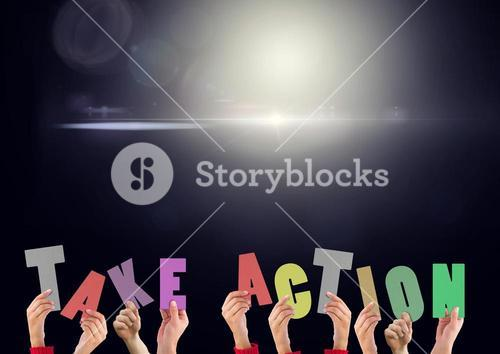 Digital composite image of hands holding take action cut outs