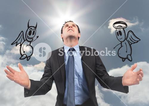 Digital composite image of businessman with angel and demon