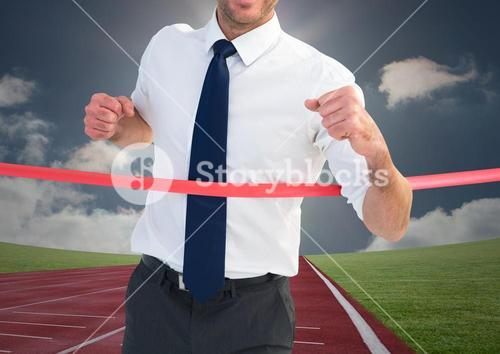 Digital composite image of a businessman winning the race