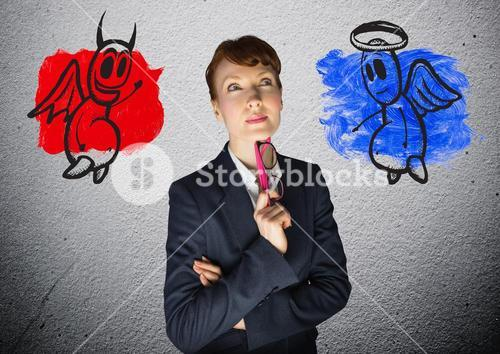 Digital image of a businesswoman with angel and devil