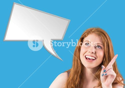 Digital composite image of smiling woman with speech bubble