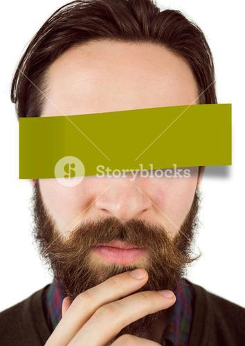 Confused man with adhesive note covering his eyes