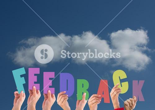 Digital composite image of hands holding feedback cutouts