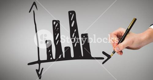 Digital composite image of hand drawing bar graph