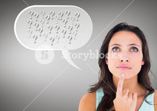 Digital composite image of thinking woman with speech bubble