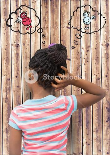Digital composite image of girl scratching her head with angel and demon in speech bubble