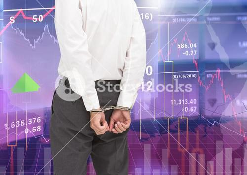 Digital composite image of businessman with hands bonded by hand cuffs