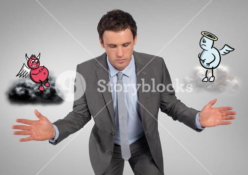 Digital composite image of a serious businessman with angel and demon