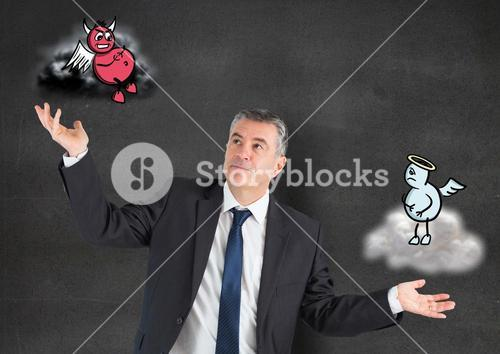 Digital composite image of a businessman holding angel and demon