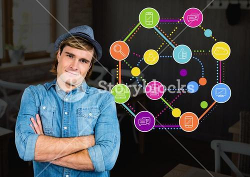 Digital composite image of man with arms crossed and socializing concept