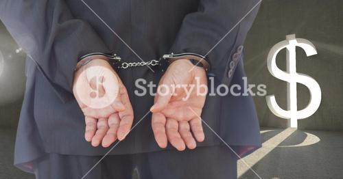 Digital composite image of a businessman with bonded hands