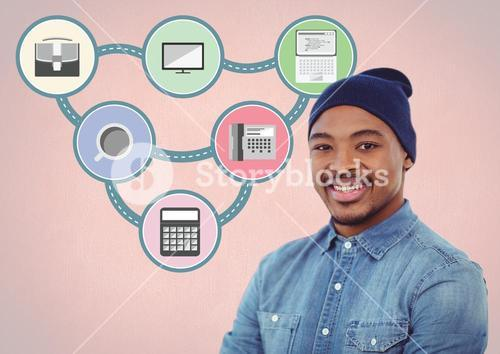 Portrait of smiling man standing against various icons