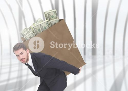 Corrupt businessman carrying box filled with bunch of dollar
