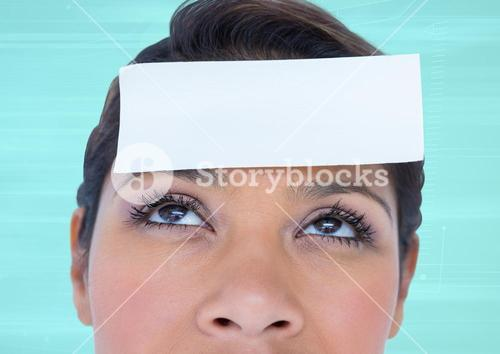 Blank note on a woman forehead