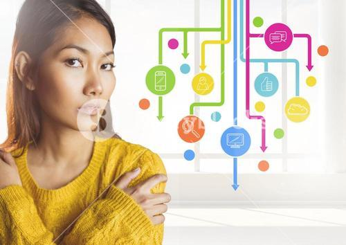 Woman standing next to application icons