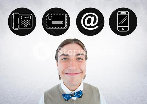 Smiling man with application icons above his head