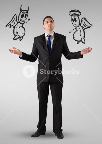 Businessman confused about the good and bad conscience
