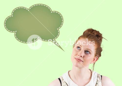 Thoughtful woman looking at speech bubble icon