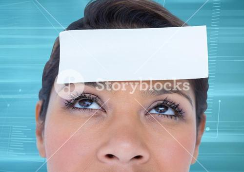 Blank paper note on woman forehead