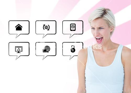 Frustrated woman standing next to application icons