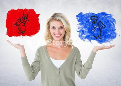 Portrait of smiling woman between good and bad conscience